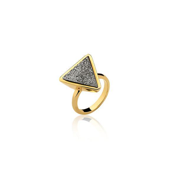 Anel-Little-Triangle-Drusa-Metalizada
