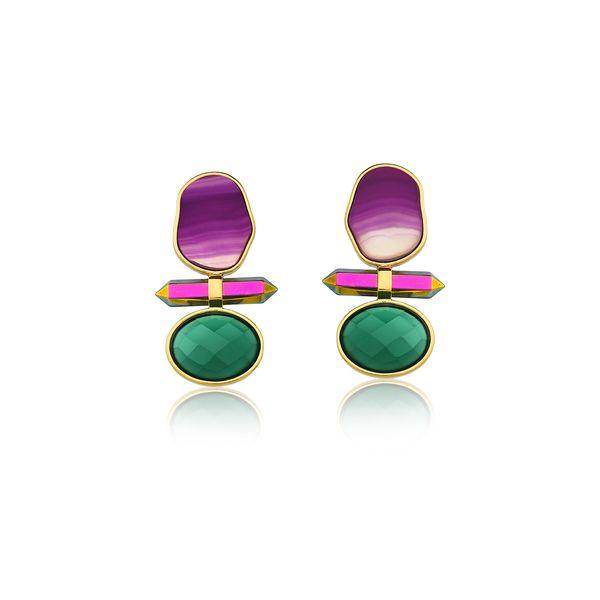 Brinco-Petit-Beaute-Cristal-Multicolorido-Agata-Roxa-e-Verde