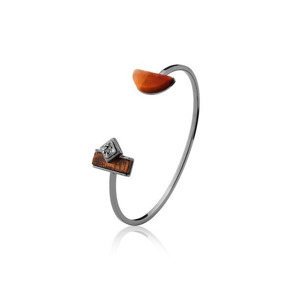 Pulseira-Legno-Cute---Agata-Vermelha-Drusa-Metalizada-e-Madeira