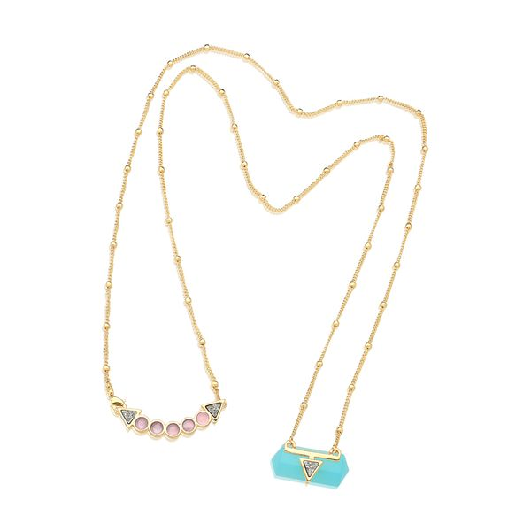 Colar-Santa-Clara---Agata-Azul-Quartzo-Rosa-e-Drusa-Metalizada---Colecao-California-Dreamin-Banho-Folheado-a-Ouro