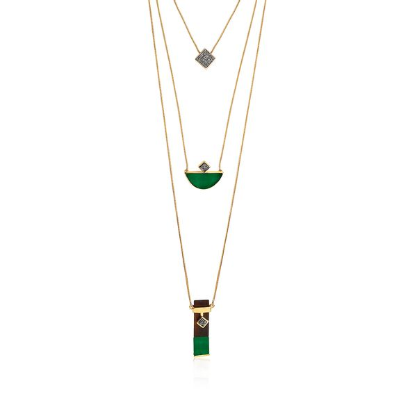 Colar-Legno-Triple---Agata-Verde-Drusa-Metalizada-e-Madeira