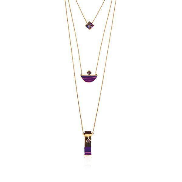 Colar-Legno-Triple---Agata-Roxa-Drusa-Multicolorida-e-Madeira