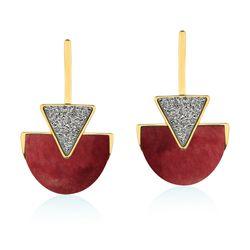 Brinco-Line-Triangle---Amazonita-Vermelha-e-Drusa-Metalizada-