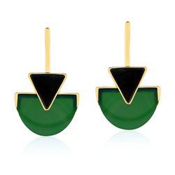 Brinco-Line-Triangle---Agata-Verde-e-Onix-