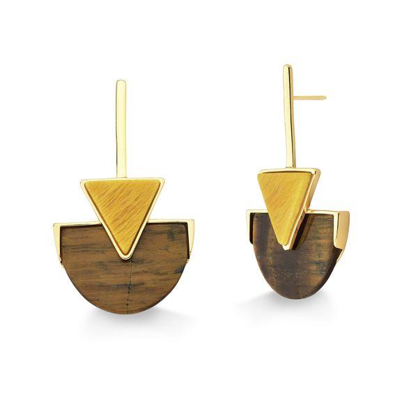 Brinco-Line-Triangle---Amazonita-Amarela-e-Olho-de-Tigre---Colecao-Geometric