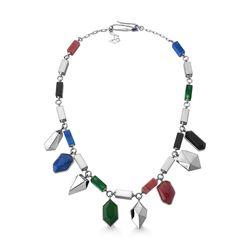 Colar-Artsy---Agata-Verde-Amazonita-Vermelha-Obsidiana-Preta-Quartzo-Azul-Anil-e-Esmalte-Azul-Anil---Colecao-Galeria
