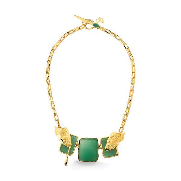 Colar-Vicent---Agata-Verde-e-Esmalte-Verde---Colecao-Galeria