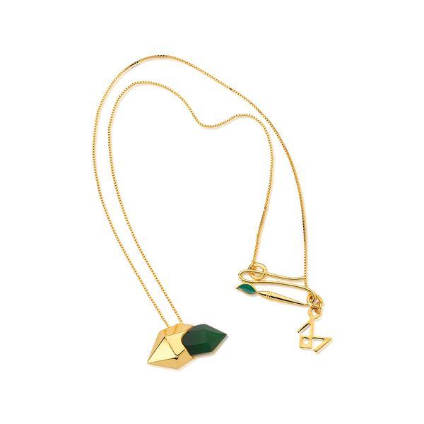 Colar-Petit-Braque---Agata-Verde-e-Esmalte-Verde---Colecao-Galeria-