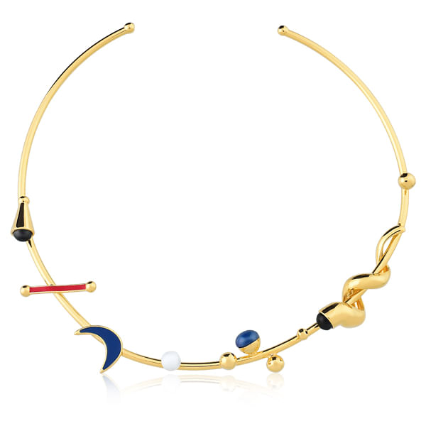 Colar-Choker-El-Carnaval---Obsidiana-Preta-Porcelana-Branca-e-Quartzo-Azul---Colecao-Fusion