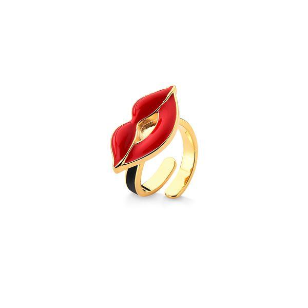 Anel-Cruella-Boca---Esmalte-Branco-Preto-e-Vermelho---Colecao-Disney-Cruella