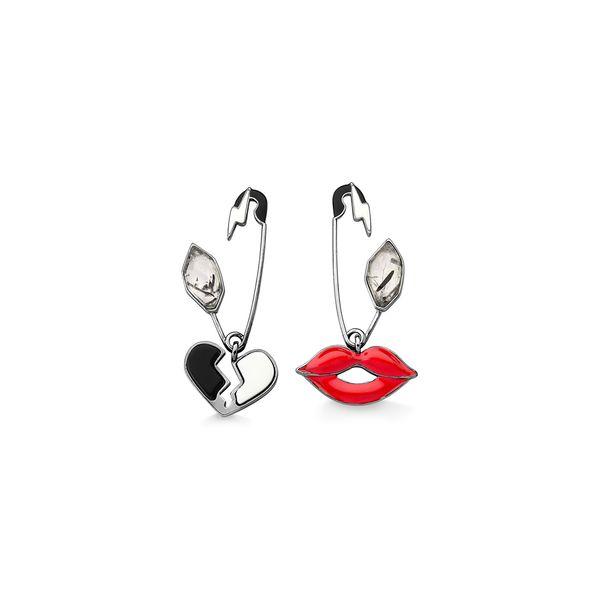 Brinco-Alfinete---Porcelana-Branca-Obsidiana-Preta-Cristal-Grafitado-e-Esmalte-Branco-Preto-e-Vermelho-