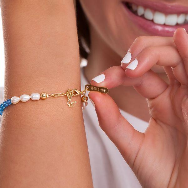 Pulseira-Cinderela---Agata-Azul-Esmalte-Azul-e-Perola-Barroca---Colecao-Disney-Princesa-Maria-Dolores