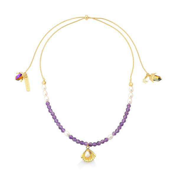 Colar-Ariel---Ametista-Cristal-Multicolorido-e-Perola-Barroca---Colecao-Disney-Princesa-Maria-Dolores