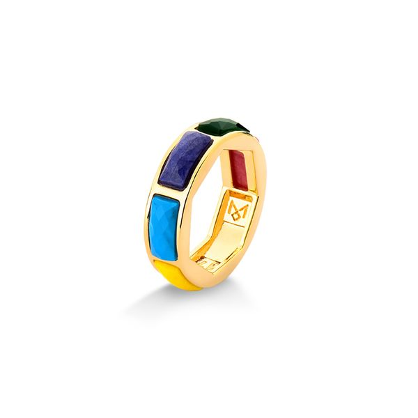Anel-Arcus---Quartzo-Amarelo-Haulita-Turquesa-Agata-Verde-e-Feldspato-Vermelho---Colecao-Sublime
